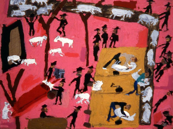 Shearing Sheep at the Hutterites (1989 27x36 oil on linen) painting by Jerry Iverson