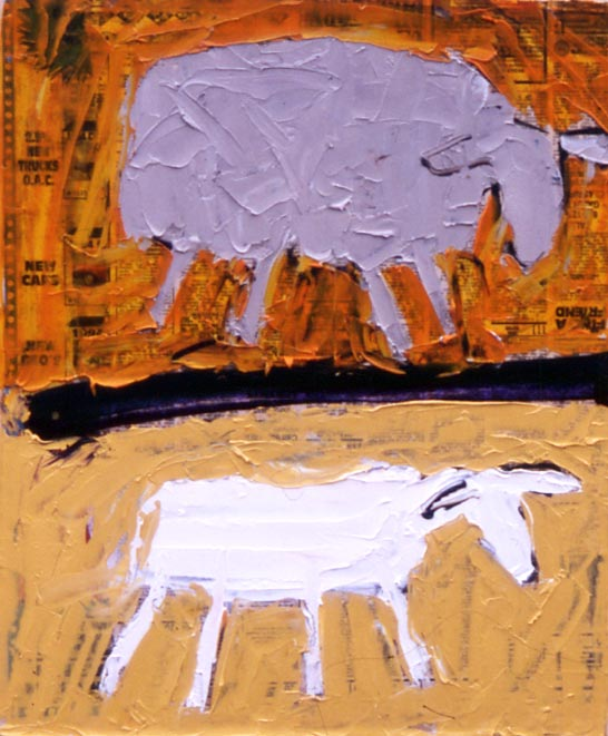Sheep: sheared unsheared (1994 14x17 oil on paper on board) painting by Jerry Iverson