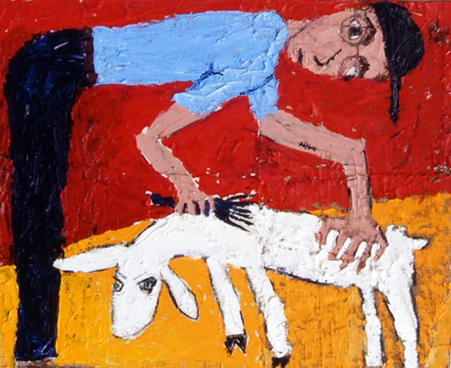 Self Portrait Shearing Sheep (1992 26x32 oil on canvas on board) painting by Jerry Iverson