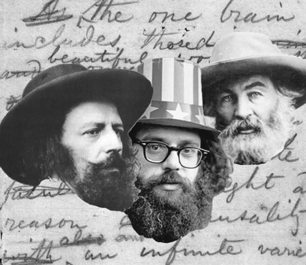 Poets Lord Alfred Tennyson, Allen Ginsberg, and Walt Whitman