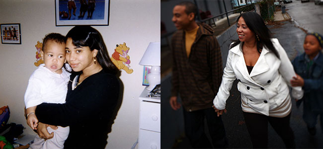Melissa Rodriguez, in 1996, with her son Issaiah and, in 2013, with sons Issaiah and Tyron
