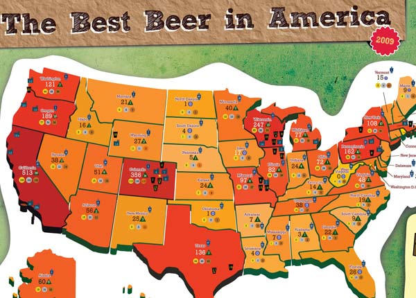 2009 Great American Beer Festival Medal Map- detail