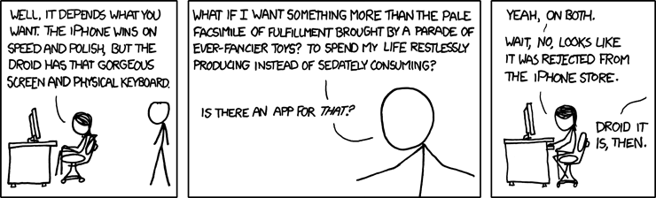 xkcd cartoon: iPhone or Droid