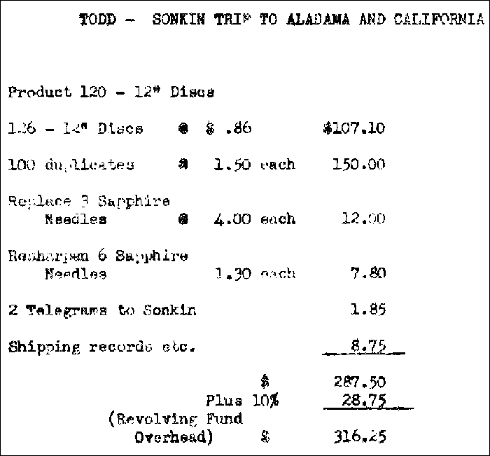 Todd/Sonkin list of recording expenses