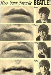 Kiss Your Favorite Beatle with pictures of lips