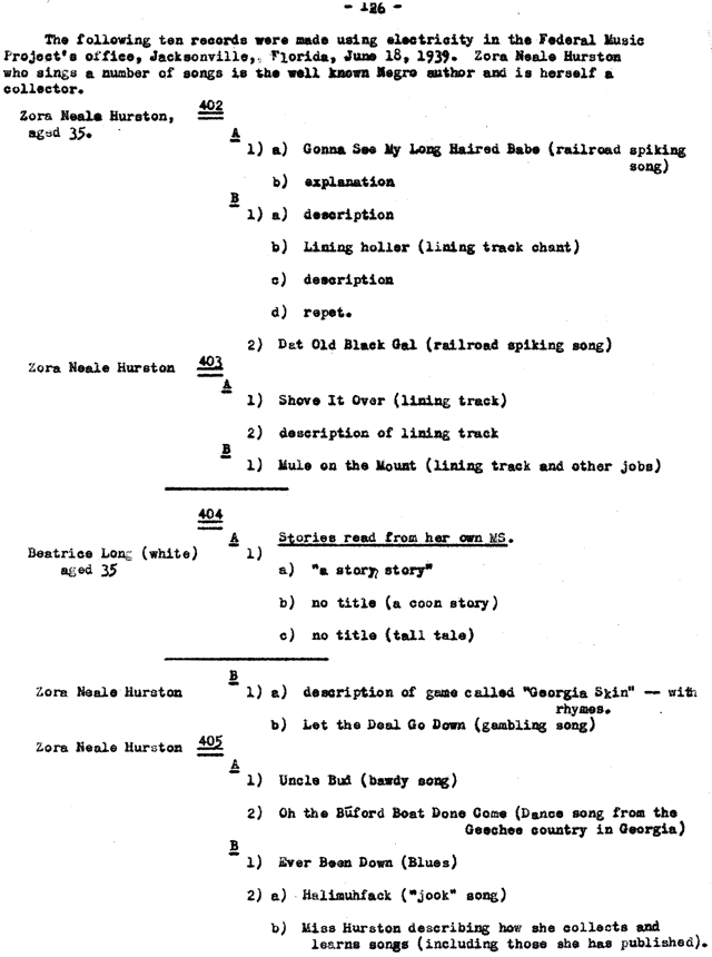 Page from recording check list, Southern Recording Expedition 1939