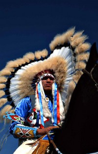 Crow Fair: Dancer on Horseback,