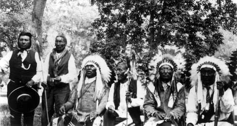 Men pose for photo at 1926 Crow Fair, photo by Elsa Spear Byron