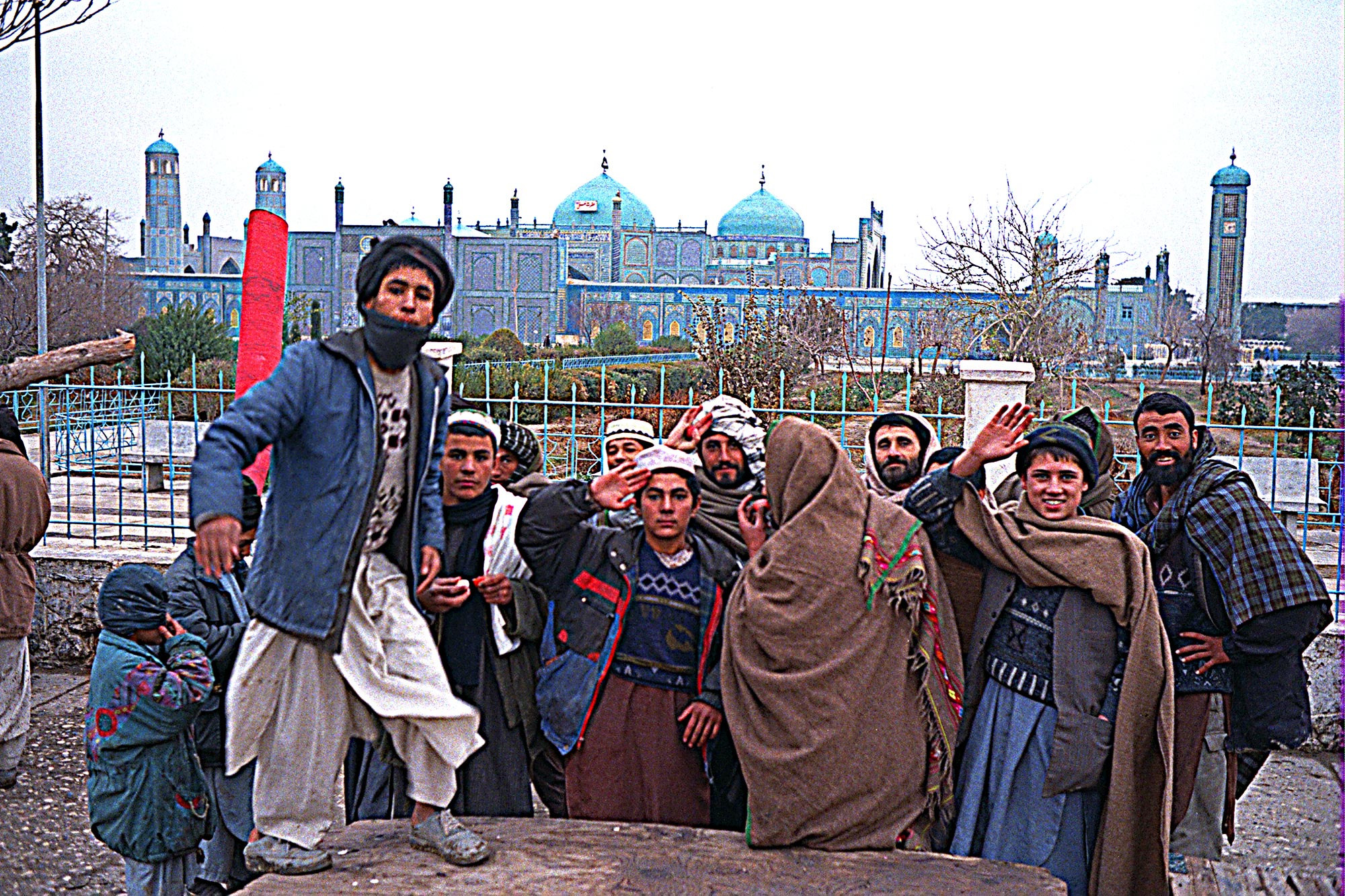 Men at the mosque in Mazar