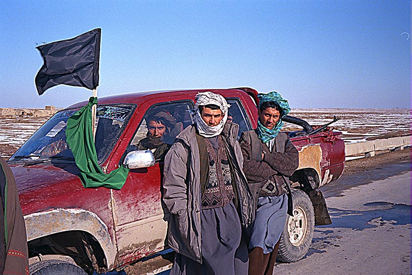 Soldiers parked in Toyota pickup on the road from Mazur to Shrerbigan