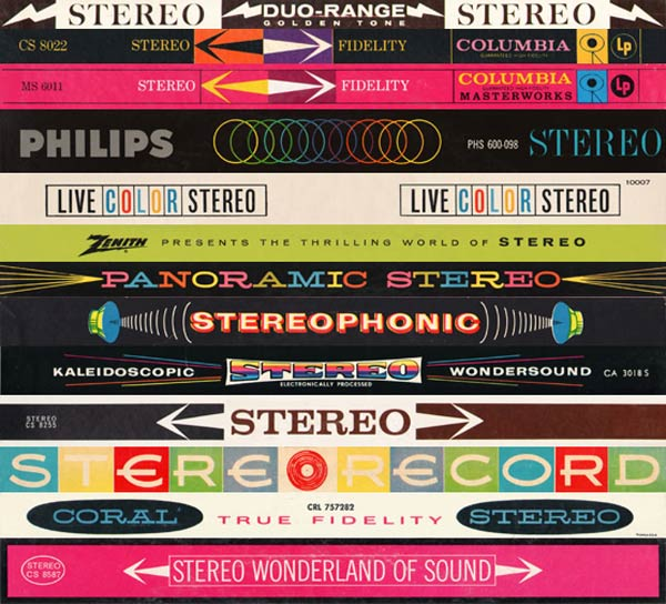 Banners advertising Stereo, from LP covers, screenshot from StereoStack.com