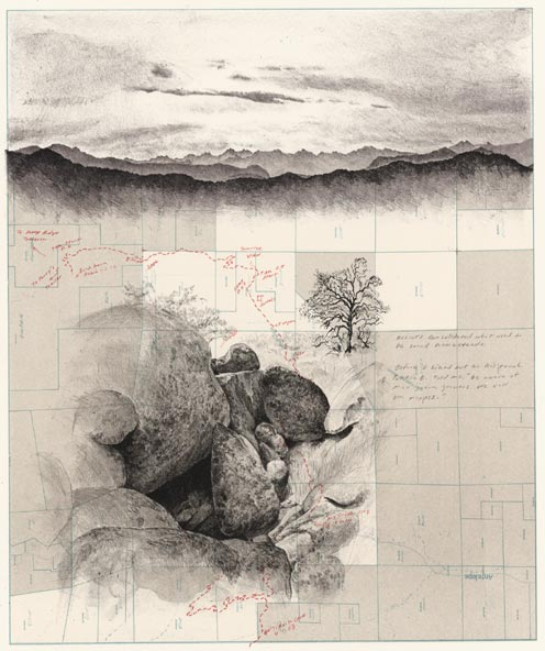 "Due East through Elliot Ranch, 2008, lithograph, 22"" x 28.5"", by Matthew Rangel"