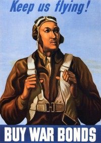 Tuskegee Airman war bonds poster