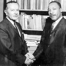 Dr King and the Rabbi's shake hands