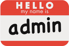 Name tag: Hello, May Name is Admin