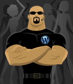 Secuirty guard with WordPress logo