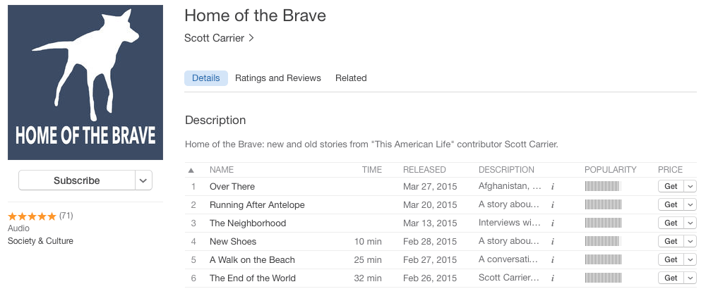 Home of the Brave podcast at iTunes