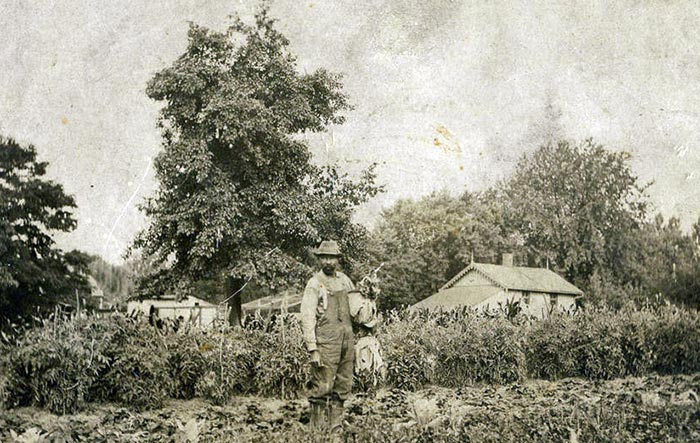 Fountain Hughes, former slave, in his garden