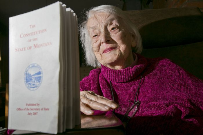 Dorothy Eck and the Montana Constitution (photo: Adrian Sanchez-Gonzalez, Bozeman Daily Chronicle )