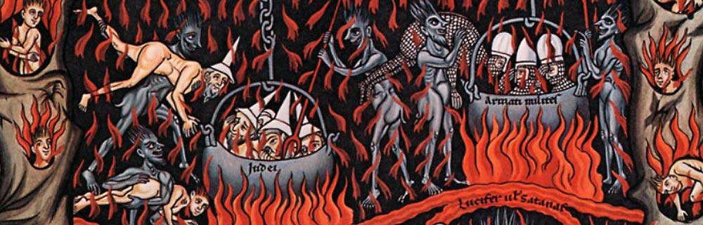 Herrade von Landsberg, Hell, Hortus Deliciarum (Garden of Delights). Abbaye Mont Sainte-Odile (Abtei Hohenburg). circa 1185