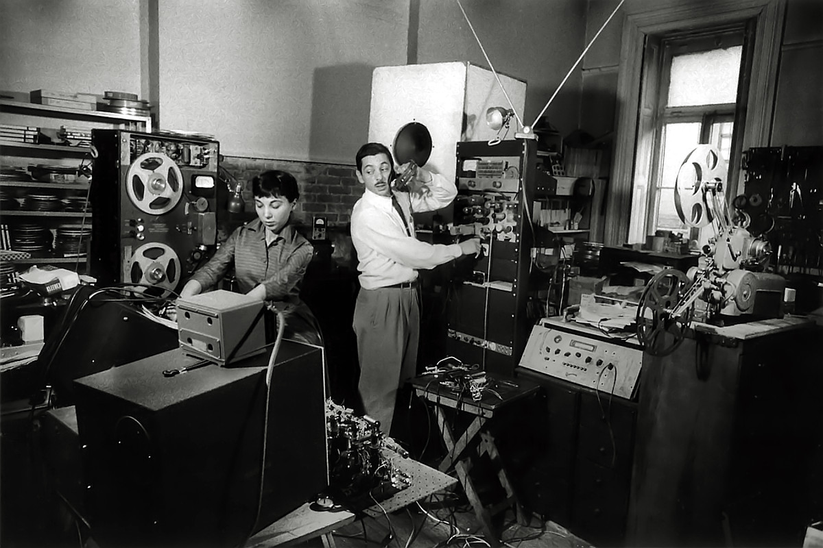 Louis and Bebe Barron in their Greenwich Village NYC recording studio, 1956 (photo: Walter Daran)