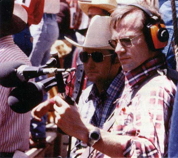 Audio engineer John Widoff recording the rodeo
