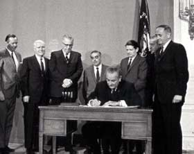 President Johnson signs the Public Broadcasting Act, November 7, 1967