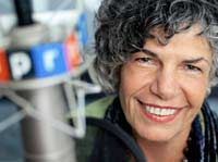 Susan Stamberg at microphone in NPR studios
