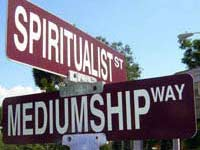 Crossroads sign: Spiritualist St and Mediumship Way