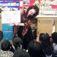 Esme Codell in the classroom with students