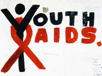 Youth AIDS logo graffiti on wall