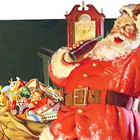 Coca-Cola ad: Santa with bag of presents drinking Coke