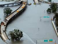 New Orleans roads bridges, and buildings flooded