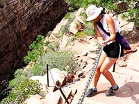 Lisa Miller descending Angel's Landing
