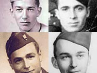 1942 photos of US Army soldiers Cliff Austin, Harrison Burney, Bill Busier, and Robert Norton