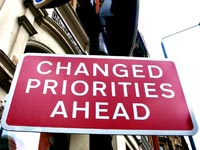 Road sign reading: Changed Priorities Ahead