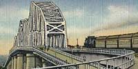 Color tinted postcard of Huey P. Long Bridge