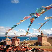 Tibetan prayer flags on a mountain top