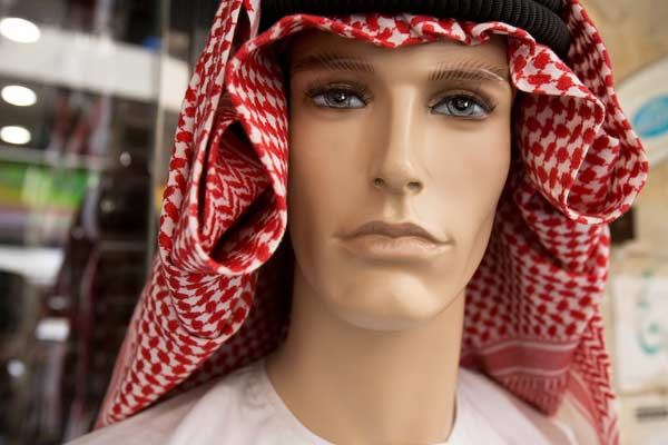 Keffiyeh (men's head wear), on mannikin, for sale in Dubai
