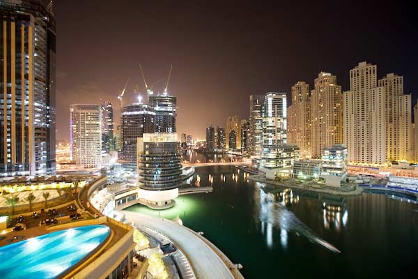 View from hotel at night, the lights and buildings of Dubai Marina Area